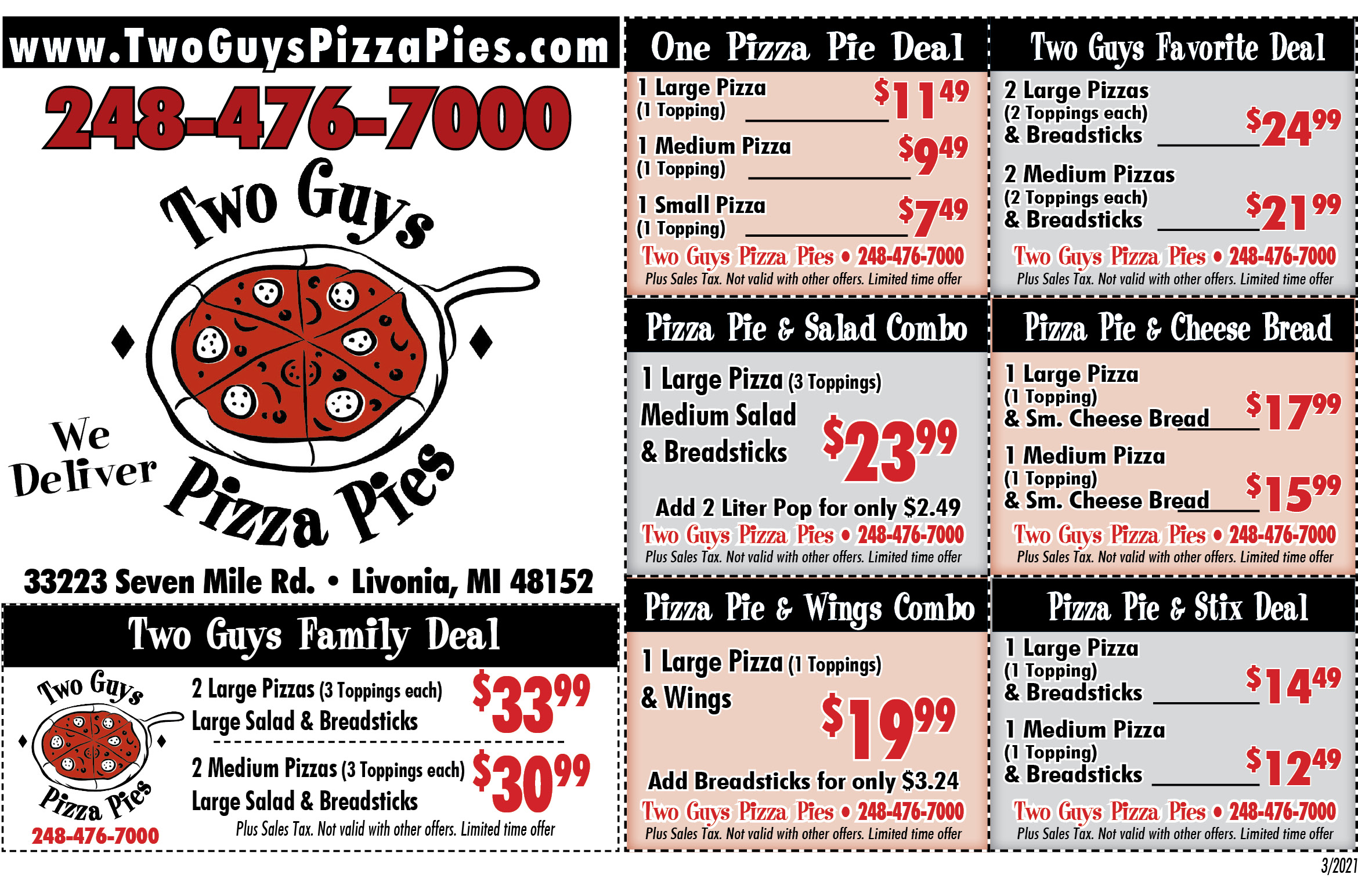 Two Guys Pizza Pies coupons